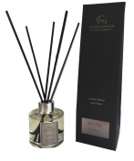The Harrogate Candle Company Divine Dark Amber and Sandalwood Midi-Mood Diffuser, 100 ml, Clear/Black, 8 x 7 x 26 cm