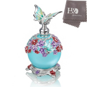 YUFENG 23ml Butterfly Perfume Bottle,Retro Frosted Glass Refillable Glass Perfume Bottle Empty with Blue Bottle Body
