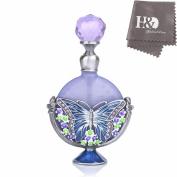 YUFENG Fancy Purple Perfume Bottle Butterfly Pattern Restoring Ancient Antique Handmade Perfume Bottles Empty Refillable(7ml)