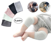 5 Pairs Baby Knee Pads Support, Anti-slip Elastic Thick Cotton Crawling Safety Protector for Toddler Infants