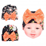 2PC baby hats Unisex, 100% Super Soft Cute Baby Kids Newborn Hats Hairball knitting bow knot cotton Baby Hat Cap Boys & Girls