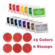 Colourful Ink Pad ,Fingerprint Ink ,Wooden Rubber Stamp for DIY Diary Cards Stamps Craft Card Making ,Craft Stamps for Kids