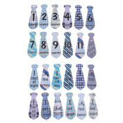 MagiDeal 24pcs/Set Baby Monthly Necktie Stickers Party Baby Shower Photo Props