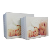 Set of 2 Keepsake Blue Baby Boxes - Perfect for Gifts for New Borns, Memory Boxes, Storage, Decoration
