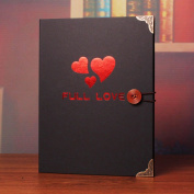 TING- DIY Photo Album Paste Type Black Inside Page Black Cover Handmade Gifts Family Album Simple Style Children's Memorial Memorial Gifts Baby Booklet Inner Ring Binding