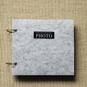 TING- DIY Photo Album Paste Type Insert Page Handmade Gifts Family Album Grey Felt Cover Children's Memorial Memorial Gifts Baby Booklet The Outer Ring