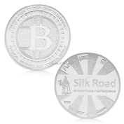 Silver Plated Bitcoin The Silk Road Famous Bitcoin Gift Commerative Coin gift idea