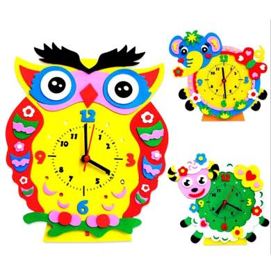 Domybest DIY 3D EVA Foam Clock Toy Children Kids Crafts Kits Puzzle Educational Toy Home Kindergarten Decor Christmas Gifts