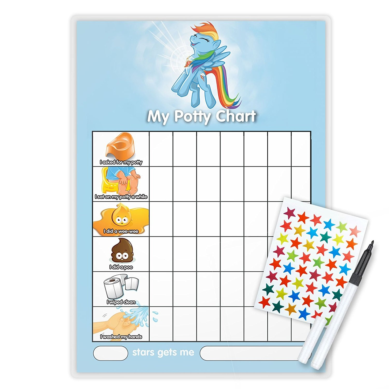 MY LITTLE PONY - RAINBOW DASH POTTY TOILET TRAINING reward Chart + Pen &  Free Star Stickers - RD05T