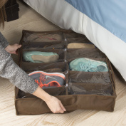 Under Bed Storage Shoe Organiser Bag with Clear Plastic Zippered Cover, Stores 12 Pairs of Shoes by Everyday Home