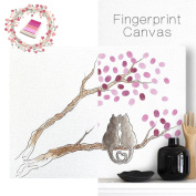 LNPP Fingerprint Tree Canvas Painting without Frame Sign-in Book for Wedding Party with 4 Ink Pads