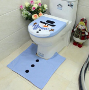 DDQQ Christmas Single Snowman Toilet Seat Cover Foot Pad Set Christmas Decoration - Blue
