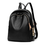 BOAOGOS Women Bags All Seasons PU Polyester Backpack Rivet for Casual Outdoor Camping & Hiking Black,Black