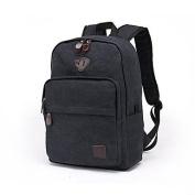 BOAOGOS Men Bags All Seasons Canvas Backpack Zipper for Casual Khaki Black Blue,Black