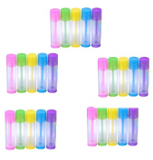 Homgaty 25 Pieces Lip Balm Empty Containers Plastic DIY Lip Gloss Tubes Lipstick Bottle Container