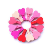 Qinlee 12pcs Wooden Photo Clips Clothes Paper Mini Pink Heart Wooden Pegs Clothespins Clips for Hanging Photos Art Craft DIY Picture