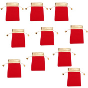 iTemer 10pcs Red Gift Bag with Drawstrings Favour Jewellery Pouches Coin Pouch Perfect for Wedding Party ,Arts or Crafts 12.5*8.5cm