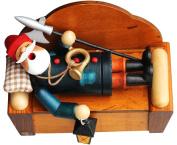 Sleeping Nightwatchman Santa Incense Burner Smokerman Figure - Authentic German Räuchermann