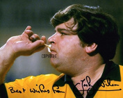 LIMITED EDITION JOCKY WILSON DARTS SIGNED PHOTOGRAPH + CERT PRINTED AUTOGRAPH
