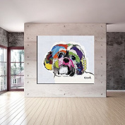 Raybre Art Colour poodle dog head painting Pictures on Canvas Wall Art Ready to Hang for Bedroom Home Decorations