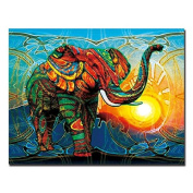 Raybre Art Colour elephant sunset on Canvas Landscape Painting Modern Artwork Stretched and Framed Ready to Hang Canvas Art for Home Decoration