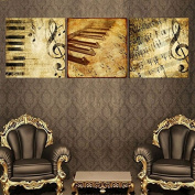Raybre Art Golden music symbol Piano keys painting on Canvas Wall Art Ready to Hang for Bedroom Home Decorations