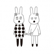Raybre Art Cartoon bunny Couples wearing flowers on head in round dress painting Pictures on Canvas Wall Art Ready to Hang for Bedroom Home Decorations