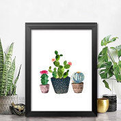 Raybre Art Various shapes of cactus flowers Potted plants painting Ready to Hang wall art print Completely framed image printed on canvas
