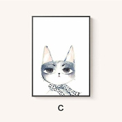Raybre Art Erect ears rabbit Visual front Wearing a dot scarf Cartoon rabbit oil painting Modern Canvas Prints Artwork abstract Pictures Printed on Canvas Wall Art for bedroom OfficeÂ