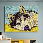 Raybre Art Colour Siberian husky dog sleeping painting Wall Art Ready to Hang for Bedroom Home Decorations