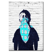 Raybre Art Teenager covered with face in Blue veil painting on Canvas Wall Art Ready to Hang for Bedroom Home Decorations