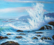 overstockArt Forceful Winds Oil Painting with Studio Walnut Wood Frame