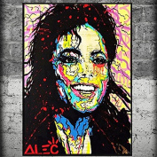 Raybre Art Super star Colourful Mike Jackson Painting Modern Artwork Stretched and Framed Ready to Hang Canvas Art for Home Decoration
