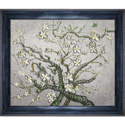 overstockArt Van Gogh Branches of an Almond Tree in Blossom Oil Painting with La Scala King Frame, Black and Gold Finish