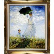 overstockArt Monet Madame Monet and Her Son Oil Painting with Legacy Gold Frame, Gold Finish