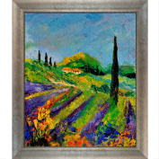 overstockArt 451190 Ledent Provence Canvas with Silver Scoop/Swirl Lip Silver Frame with Champagne Highlights