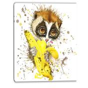 Design Art Lemur Eating Banana Graphics Art-Animal Canvas Print, 12 x 20