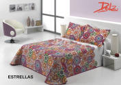 Dorte Home.-BOUTI Quilt Blanket Reversible Stars For 105 cm Bed in Measure 200 x 270 cm + 1 Pillow Cover 50 x 70 cm