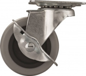 MintCraft JC-N05-G Swivel Swivel Plate Caster With Brake, 5.1cm Dia, 48kg, Thermoplastic Rubber
