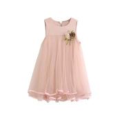 Fanxing Kids Chiffon Dresses Sleeveless Draped Dress with Beauty Brooch