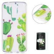 LG K8 TPU Case Transparent + [Free Screen Protector] KaseHom Cartoon Design Crystal Clear Anti-scratch Cover Durable Silicone Gel Protective Shell for LG K8 - Green Cactus