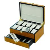 Quality Gold Versil Blonde Burl Wood Finish Velvet-lined 10-Watch Case