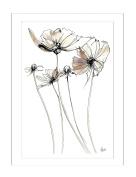 Steve Simpson Design Scribble Flower 1-Portrait Print with Matt White Frame (78 x 108cm), Fine Art Paper, White, Creams/Lilac, 78 x 4 x 108 cm