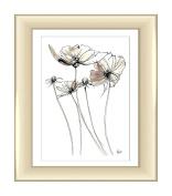 Steve Simpson Design Scribble Flower 1-Portrait Print with Matt Champagne Frame (78 x 108cm), Fine Art Paper, White, Creams/Lilac, 78 x 4 x 108 cm