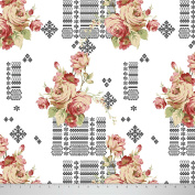Soimoi 130 GSM 110cm Inches Wide Floral Printed Moss Georgette Fabric For Sewing By The Metre - White