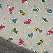 Sweat Fabric Flamingo Palm Tree Pineapple Ice Grey Mottled Multi Glitter 1.60 m Wide