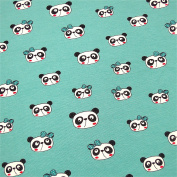 Bulk Goods Jersey Fabric 0.5 Panda Head With Bow Ürkis 5% Elastane 95% Cotton Width 140 cm Sold by the Metre (Size