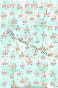 Sleepy Unicorn Printed Canvas fabric sheet x 1 for Hair bow making templates and other crafts