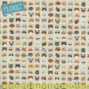 Kokka Cotton/Linen Animal World Clever Cats Natural Sewing Fabric