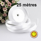 1 Roll WHITE SATIN 10 mm per 25 metres